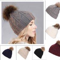 Czapki / czaszki Caps Fall / Winter 15 cm Raccoon Real Hair Ball Kapelusz dla kobiet Europejski i amerykański pogrubiony woolen twist 8 w kształcie
