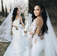 Русалка свадебные платья 2021 с длинным иллюзорным рукавом Дубай арабский сексуальный сердца назад свадебные свадебные платья кружевной аппликации туль