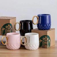 355ml Starbucks Coupes Luxury Kiss Tasse Couple Couple Céramique Tasses avec cuillère Anniversaire Marc Anniversaire Coupe de café Valentines