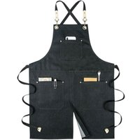 Denim cloth work apron men and women shop overalls split for...