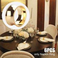 6pcs / set de cumpleaños tabla de cena del partido de los anillos de servilleta de decoración de la boda de toallas flor de la aleación titular Baby Shower Hotel Home Navidad