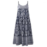 Women Dresses Summer Women Boho Sleeveless Floral Print Spag...