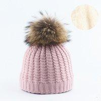 Invierno grueso cálido a cuadros de punto gorros tapas nuevas mujeres dama desmontable piel real pompón skullcap skullies hats gorros1