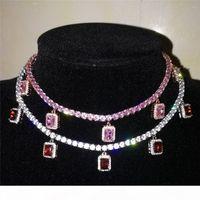 Unisex Mode Männer Frauen Glänzend 4mm CZ Tennis Kette Halsketten mit Diamant Anhänger Silber Gold Farbe CZ Männer Frauen Kette Modeschmuck