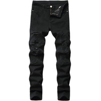Erkek Kot Erkek Siyah Moda Kot Pantolon Sıska Kalem Delikleri Yırtık Kırık Biker Düz Katı