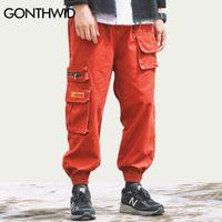 Gonthwid Side Zipper Bolsos Cargo Harem Jogadores Calças Homens Hip Hop Casual Sweetpants Streetwear Harajuku Moda Calças Calças 201116