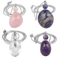 Collane del pendente Tumbeellluwa Guarigione Collana di bottiglia di profumo di pietra irregolare, catena magica del quarzo di cristallo del chakra1