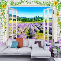 3D personalizzato foto sfondi naturali natura paesaggio murale romantico lavanda fiori finestra per soggiorno TV sfondo home decor1