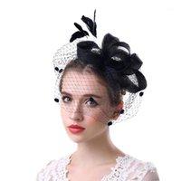 Chapeau de fête plume maille femme bowknot cadeau fascinator bandeau de mariage banquet mariage jour hid brique accessoire