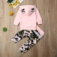 0- recém-nascido bebê menina conjunto animal orelha rosa hoodies moletom tops meninas camuflagem calça esportes outfit recém-nascido conjunto lj201223