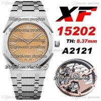2020 XF V2 39 ملليمتر جدا رقيقة 15202 كال A2121 التلقائي رجل ووتش الملمس الأصفر الطلب الفولاذ المقاوم للصدأ سوار سوبر طبعة pttime b2