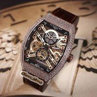Erkek Koleksiyon V 45 S6 SQT NR BR (NR) İskelet Kadran Gül Altın Elmas Durumda Otomatik Mekanik Erkek İzle Deri Kayış Tasarımcısı Saatler