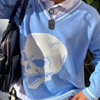Y2K maglioni teschi pullover con scollo a V maglia maglieria sciolto casual in maglia Top donna streetwear e-girl top blu 2020 autunno