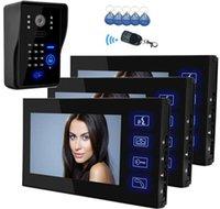 "Smartyiba 7 ""LCD-Farbmonitor-Video-Türtür-Türklingel-Intercom-System 5 RFID-Zugangskamera + 3 schwarzer Monitor auf Lager"