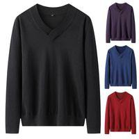 Мужские свитера Varsanol Kitittwear Мужские хлопчатобумажные пуловеры V-образным вырезом Мода вязаный свитер мужская зимняя одежда 2021