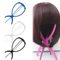 1 ADET Renkli Ajustable Peruk Standları Plastik Şapka Ekran Peruk Baş Tutucular 18x36 cm Manken Kafa / Standı Taşınabilir Katlanır Peruk Stand