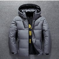 Duck Down Jacket Men Thicken com capuz manga comprida de Down Zipper bolso do casaco quente Feather Men Inverno Jacket Casual Exteriores 4XL