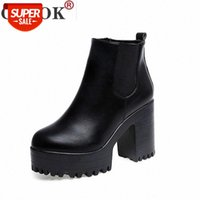 Cozok botas mujer moda mulheres botas plataformas de salto quadrado zapatos mujer pu tosca de couro coxa alta bomba botas sapatos de motocicleta # HV69