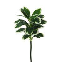 Flor Artificial Banian Branch Fake Plastic Plant Plant Decoración de la planta Dejar la casa Banyan Kapok Hojas PVC Ramo de árbol Simulación Plantas