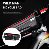 Bolsos de la bicicleta de la bicicleta que monta la bicicleta tubo envolvente frontal paquete cuadro de la bicicleta de montaña cubierta de un teléfono móvil resistente al agua 2