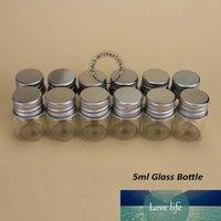 48pcs / lot al por mayor de alta calidad de la muestra de 5 ml Vial de vidrio, botellas de Protable mini cristal con tapón de aluminio Mujeres caja de cosméticos