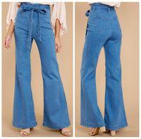 Dames jeans Womens Hoge taille wide been rechte boot gesneden boog riem uitlopende denim broek Maxi plus size Losse vrouwelijke bel-bodem broek