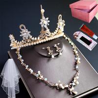 Neue Send Box Romantische Krone Kopfschmuck Luxus Ohrringe Halskette Mode Drei Teil Brautknoten Hochzeit Prinzessin Erwachsene Schmuck