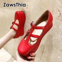 Elbise Ayakkabı Zawsthia 2021 Lolita Kore Japonya Yuvarlak Ayak Kırmızı Pembe Kız Toka Kayış Platformu Kadınlar Tatlı Kadın Mary Janes Pumps1