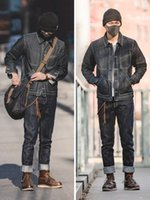 Jeans masculinos homens afligidos em linha reta calças de carga vintage tanino azul homens denim para vestuário