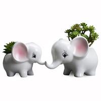 Cartoon Elephant Ceramica Vaso di fiori europea Creativo fatto a mano manuale stuccatura a base di carne Pot Modern Home Balcone Desktop KKF2290