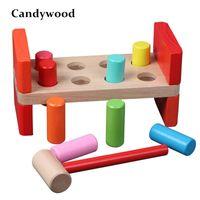 Candywood Baby Spielzeug Holz Klassische Spielwaren Geräusche Maker Hand Hammerkugel Kinder Kinder Holz Spielzeug Y200428