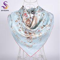 [BYSIFA] Novo Azul Silk Scarf Shawl Top Grade White Crane Projeto sarja grandes lenços quadrados Inverno Neck Scarf Hijab 90 centímetros Y201007