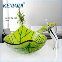 KEMAIDI US Green Leaf умывальника закаленное стеклянный сосуд Раковина латунь ванной Стеклянная раковина Набор хром Польский водопад ванной кран