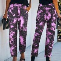 Calças femininas Capris Calças Mulheres Tie-Dye Imprimir Esporte Activewear Jogger Pocket Pocket Reta Calças Castanhas Pantacourt Femme @ 451