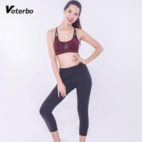 Set in esecuzione Voto VotoBotness Abiti da fitness 2 pezzi Yoga Set da donna Sport da donna Abiti da donna leggera Inserire il ritaglio traspirante Top in vita alta LEGG