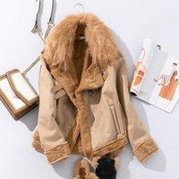 Mulheres para baixo parkas mulheres jaquetas de inverno camurça jaqueta de couro curto Buckskin Faux pele casaco de lã motocicleta espessa cordeiros casaco quente1
