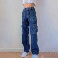Straigh perna azul jeans patchwork denim alta cintura senhoras calças de carga mulheres longos brinco brim das mulheres 90s calças vintage