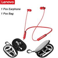 헤드폰 이어폰 Lenovo HE05 블루투스 무선 헤드셋 마그네틱 넥 밴드 이어폰 IPX5 방수 스포츠 이어 버드 촉각 플레이어 PAUSE P