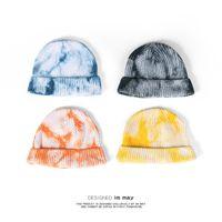 Designer tie-tintura chapéu de lã novo moda menina gorro masculino hip-hop tendência de malha gradiente de couro de melão chapéus