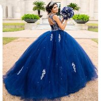 Dark Blue Embroidered Quinceanera Dresses Keyhole Backless Lace-up Bateau Tulle Ball Gown Sweet 16 Dress Prom Graduation Dress Long Chic