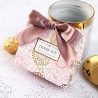 Danke Verpackung Geschenk-Tasche Weiß Kraftpapier Kleine Tasche mit Band für Hochzeit Geburtstag Party Favors Aufbewahrung yyb3893