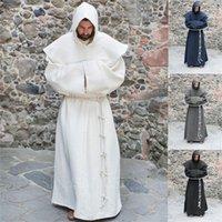 Ortaçağ Cosplay Kostümleri Adam Cadılar Bayramı Vintage Renaissance Sihirbazı Monk Rahip Kapüşonlu Pelerin Parti Katı Cape Cobes 201104