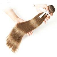 مزدوجة مرسومة حريري مستقيم الشعر البرازيلي نسج الشعر حزم اللون 8 # 6 # البني 100٪ ريمي الإنسان الشعر 14-24 بوصة