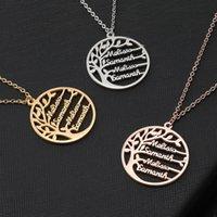 Statement Familienbaum Charm Halskette Für Frauen Kundenspezifische Name Anhänger Gold Farbe Edelstahl Schmuck Männer Weihnachtsgeschenk 52 N2
