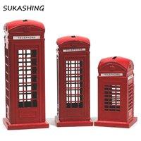 Londres Cabina de teléfono roja Die Cast caja de dinero de hucha Reino Unido recuerdo Grandes regalos para los niños de Navidad la decoración del hogar