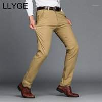 Мужские брюки Llyge Mens Business 2021 повседневная растяжка сплошные длинные прямые брюки плюс размер мода базовые тонкие подходящие карманы штаны1