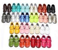 Primeiros caminhantes genuíno couro bebê crianças sapatos infantil criança menino menino antiderrapante tassel moccasins 20 cores outono franja sola macia