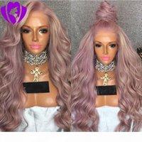 Perruque de dentelle synthétique de la dentelle de corps pourpre avec une séparation gratuite Look naturel Purple résistant aux fibres de la chaleur pour femme blanche