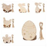 Pascua hecha a mano chips de madera conejo gallina huevo hecho a mano madera bricolaje pintado huevos huevos de Pascua fiesta decoraciones yhm914