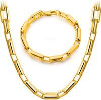 Bracciale alla moda di O Donne Uomini placcato oro di modo 18K di 20 centimetri 50 centimetri collana Set Figaro catena di collegamento della vigilanza Set